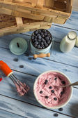 Ice cream made with mixed yogurt and blueberries — Stock Photo