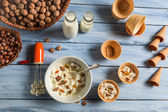 Ingredients for homemade nuts ice cream — Stock Photo