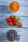 Ingredients for a healthy breakfast with fruits — Stock Photo