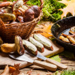 Fresh onions and mushrooms in a pan — Stock Photo