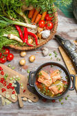 Pike and fresh vegetables for soup of fish — Stok fotoğraf