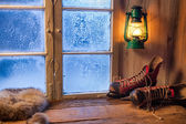 Warm shelter in winter frosty day — Stock Photo