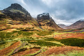 View of the mountains and pass in Glencoe, Scotland — Stok fotoğraf