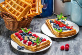 Waffles with fruit and whipped cream — Stok fotoğraf