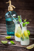Closeup of lemon drink with mint leaf and citrus fruits — Stock Photo