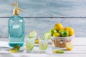 Closeup of fresh lemonade with fruit — Stock Photo