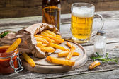 Homemade fresh fries with cold beer — Foto Stock