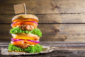 Enjoy your double-decker burger — Stock Photo