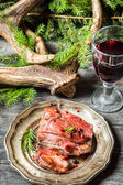 Piece of venison served with red wine — Foto Stock