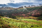 Rain clouds over a mountain valley in Scotland — Stock Photo