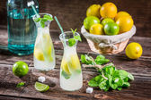Fresh cold drink lemon with sugar — Stock Photo