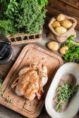 Roast chicken with herbs and vegetables — Stock Photo