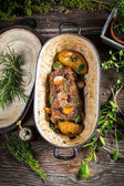 Roasted venison with vegetables — Stock Photo