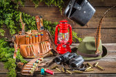 Forester lodge full of hunting equipment — Stock Photo