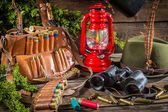 Hunting lodge full of equipment for hunting — Stock Photo