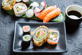 Closeup of sushi with soy sauce — Stock Photo