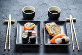 Sushi dinner for two people — Stock Photo