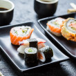 Sushi served with soy sauce for two — Foto Stock