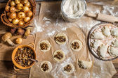Fresh ingredients for dumplings with mushrooms — Stock Photo