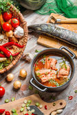 Freshly caught fish and vegetables for soup ingredients — Stock Photo