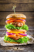 Double-decker homemade burger made from fresh vegetables — Stock Photo