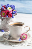 Cup of coffee and daisy flowers — Stock Photo