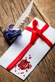 Elegant letter with red sealant and blue ink — Stockfoto