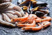 Three kinds of fresh seafood — Stock Photo