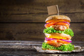 Homemade double-decker burger — Stock Photo