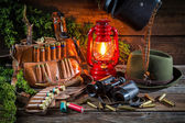 Forester lodge with a hunting equipment — Stock Photo