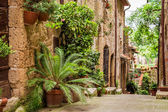 Tuscan Street in the city full of flowery porches — Stock Photo