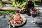 Red meat tastes best with wine — Stock Photo