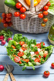 Preparing a healthy spring salad — Stock Photo