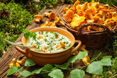 Freshly collected mushrooms in the woods and cooked with cream — Stock Photo