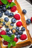 Closeup of waffels with cream and berry fruits — Stock Photo