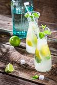 Closeup of fresh lemonade with fruit — Stockfoto