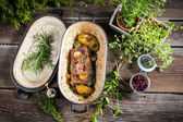 Roasted venison with herbs and vegetables — Stock Photo