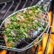 Grilled fish with spices on fire — Stock Photo #50136479