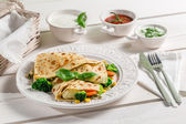 Pancake with vegetables and three sauces — Stock Photo