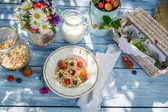 Preparations for breakfast in the garden — Stock Photo