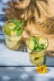 Cold drink with lemon and mint leaf — Stock Photo