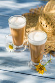 Coffee latte served in a sunny day — Stock Photo