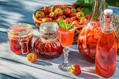 Various preparations of strawberries — Stock Photo