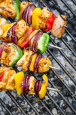 Grilled skewers on the grill — Stock Photo