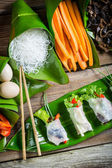 Ingredients for fresh spring rolls — Foto Stock