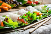 Spring rolls with vegetables and chicken — Stock Photo