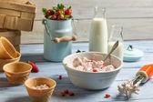 Homemade production of strawberry ice cream — Stock Photo