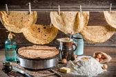 Homemade pancakes country production — Stock Photo