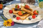 Toast s ovocem a medem, podávaný v zahradě — Stock fotografie
