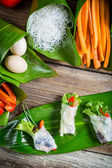 Fresh spring rolls with vegetables and rice noodles — Foto Stock